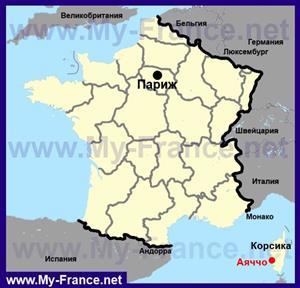 Аяччо на карте Франции