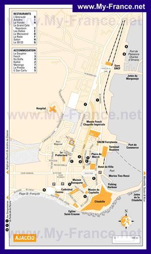 Подробная туристическая карта Аяччо  с достопримечательностями