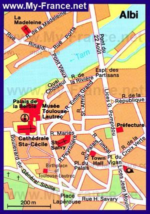 Карта города Альби с достопримечательностями
