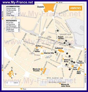 Подробная карта города Амьен с отелями