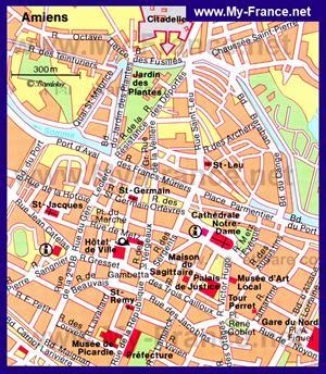 Туристическая карта Амьена с достопримечательностями