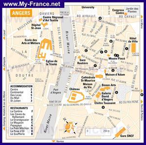 Подробная карта города Анже с отелями