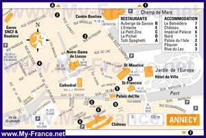 Подробная карта города Анси с отелями