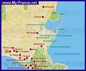 Карта города Антиб