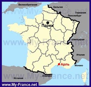 Арль на карте Франции