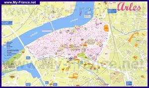 Подробная карта города Арль с достопримечательностями