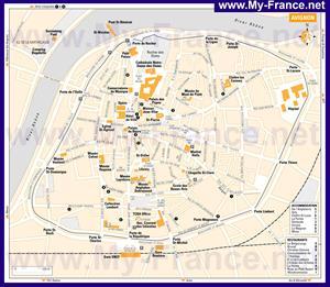 Карта Авиньона с отелямии достопримечательностями