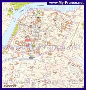 Подробная туристическая карта города Авиньон