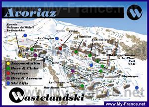 Туристическая карта Авориаза с отелями