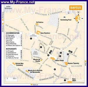 Подробная карта города Байе с достопримечательностями