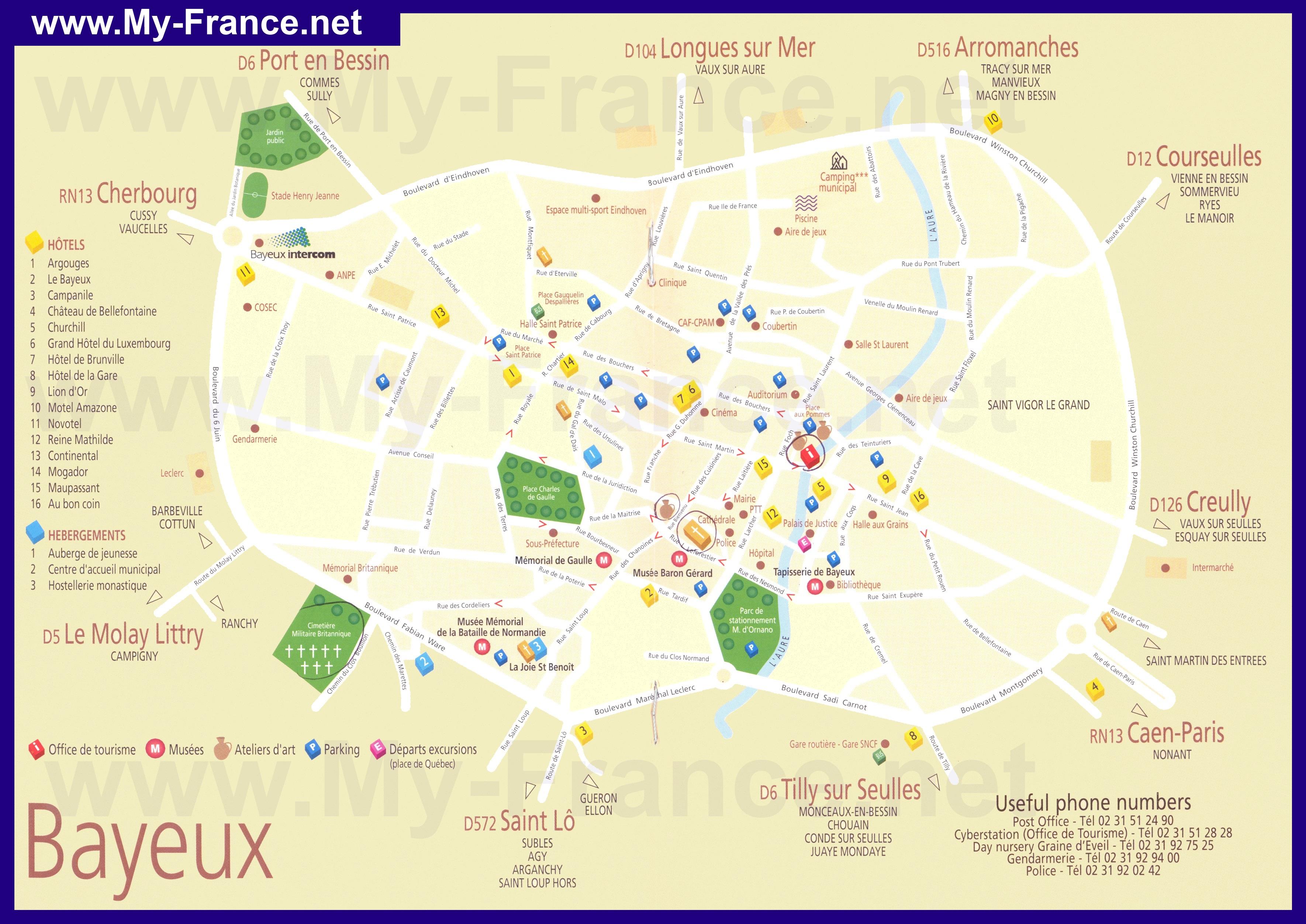 Туристическая карта байе с отелями