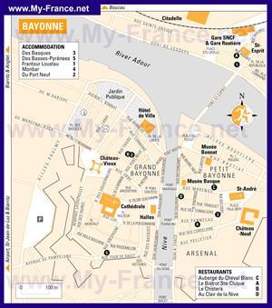 Подробная карта города Байонна с отелями