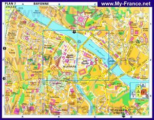 Туристическая карта Байонны с достопримечательностями