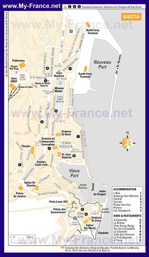 Подробная карта города Бастия с отелями и достопримечательностями