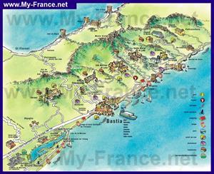 Туристическая карта Бастии