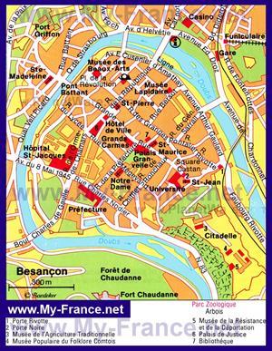 Туристическая карта Безансона с достопримечательностями
