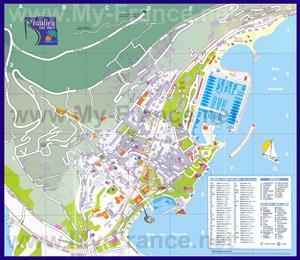 Подробная туристическая карта города Больё-сюр-Мер с отелями