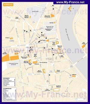 Подробная карта Бордо с отелями