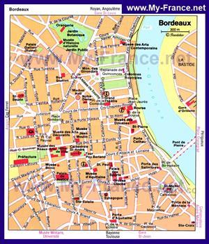 Туристическая карта Бордо с достопримечательностями