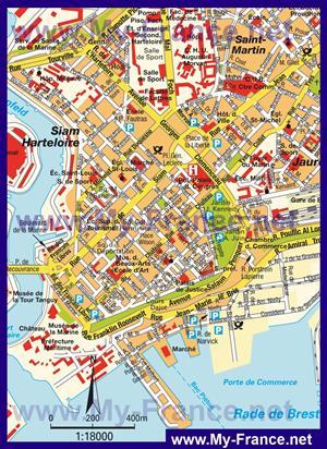 Туристическая карта центра Бреста с достопримечательностями