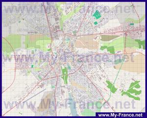 Подробная карта города Бурж