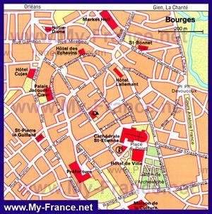 Туристическая карта Буржа с достопримечательностями