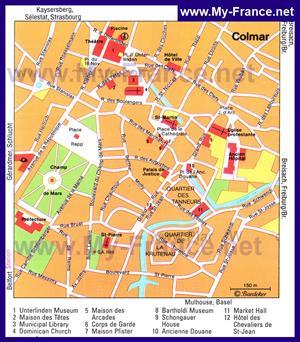Карта Кольмара с достопримечательностями