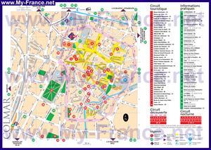 Подробная туристическая карта Кольмара