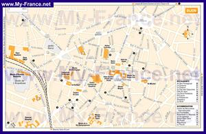 Подробная карта Дижона с отелями