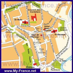 Туристическая карта центра Динана с достопримечательностями