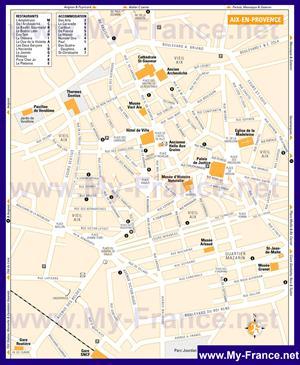 Туристическая карта Экс-ан-Прованса с отелями