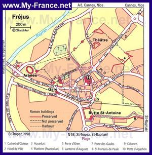 Туристическая карта Фрежюса с достопримечательностями