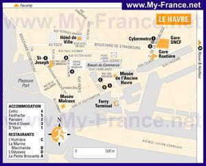 Туристическая карта Гавра с отелями