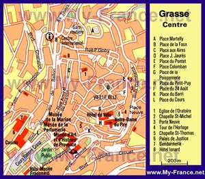 Туристическая карта центра Грасса с достопримечательностями