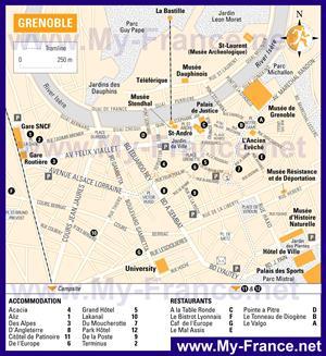 Карта Гренобля с отелями
