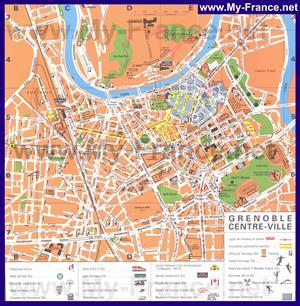 Туристическая карта Гренобля с отелями и достопримечательностями
