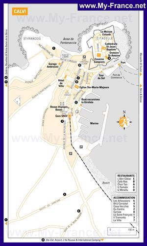 Карта Кальви с достопримечательностями и отелями