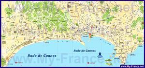 Подробная карта города Канны с улицами