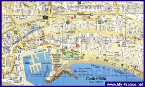 Туристическая карта центра Канн