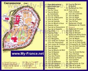 Карта старого города Каркассона с достопримечательностями