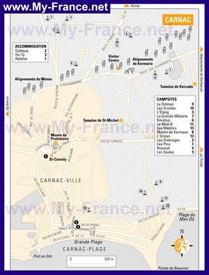 Туристическая карта Карнака с отелями и достопримечательностями