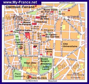 Карта Клермон-Феррана с достопримечательностями
