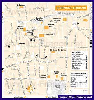Туристическая карта Клермон-Феррана с отелями