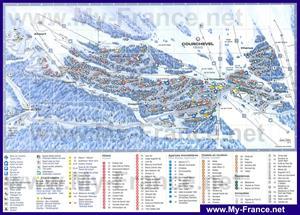 Подробная карта курорта Куршевель с отелями