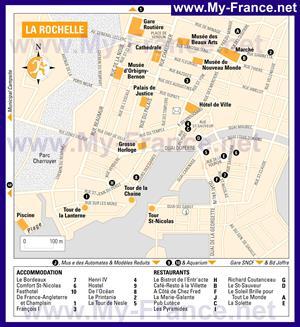 Карта Ла-Рошеля с отелями
