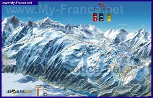 Карта горнолыжных трасс курорта Ле дез Альп