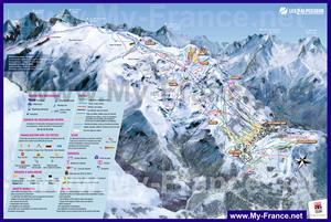 Подробная туристическая карта курорта Ле дез Альп