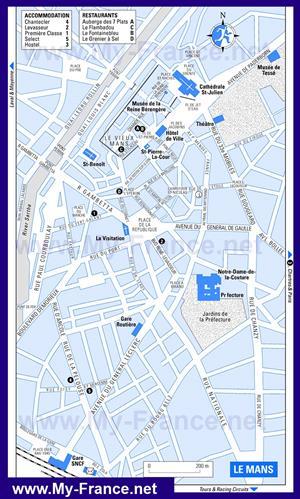Туристическая карта Ле-Мана с отелями
