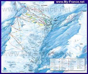 Подробная карта горнолыжного курорта Ле Менюир