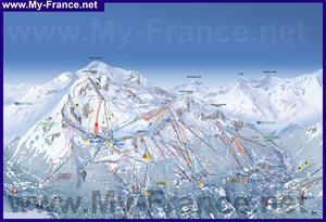 Подробная карта горнолыжного курорта Лез Арк
